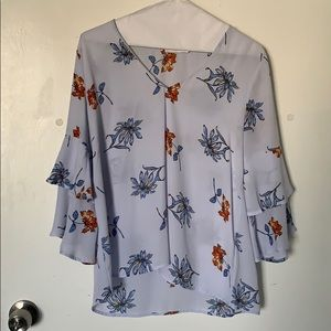 Lush periwinkle floral blouse